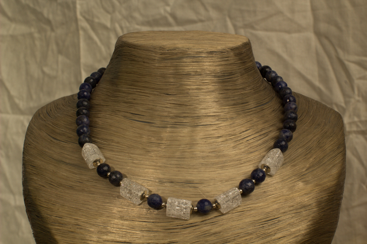 Collier Bergkristall, Lapis-Lazuli, Silber 925/ooo